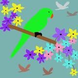 Papagei, der auf Baum genießt lizenzfreie abbildung