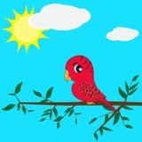Papagei, der auf einem Zweig sitzt Lizenzfreie Stockfotografie