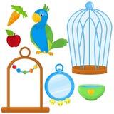 Papagei mit unterschiedlichen Spielwaren und Zubehör Stockfoto
