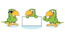 Papageien-Maskottchen-Vektor glücklich Lizenzfreies Stockfoto
