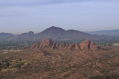 Papago Park with Camelback Mountain in Phoenix, Arizona stock photo