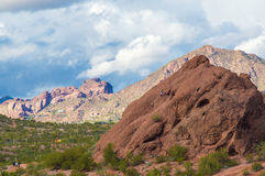 Papago Park Phoenix Arizona after a storm. Sunlight shines on Camelback Mountain after a storm.  Papago Park in Phoenix Arizona, popular location after a storm Royalty Free Stock Images