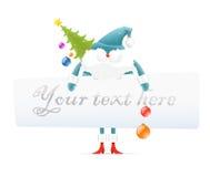 Papai Noel, árvore de Natal, placa em branco para o texto ilustração stock