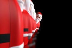 Papai Noel 3d alinhado em um fundo preto Imagem de Stock