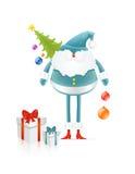 Papai Noel azul com árvore e presentes dos cristmas Fotografia de Stock Royalty Free