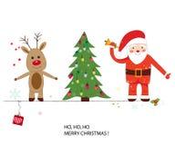 Papai Noel, cervos e árvore de Natal Cartão do ano novo feliz e do Feliz Natal Fotos de Stock Royalty Free