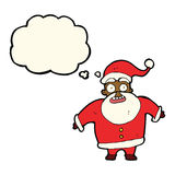 Papai Noel chocado desenhos animados com bolha do pensamento Imagens de Stock Royalty Free