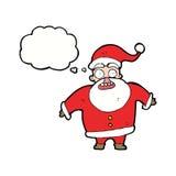 Papai Noel chocado desenhos animados com bolha do pensamento Imagem de Stock