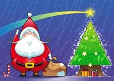 Papai Noel com árvore de Natal. Imagens de Stock