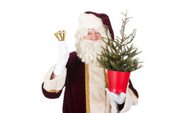 Papai Noel com árvore de Natal Fotografia de Stock Royalty Free
