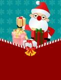 Papai Noel com caixa de presente Fotos de Stock Royalty Free