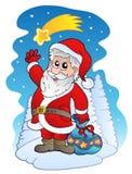 Papai Noel com cometa Imagem de Stock