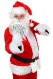Papai Noel com dinheiro Fotografia de Stock