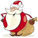 Papai Noel com o saco de presentes Fotografia de Stock Royalty Free