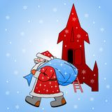 Papai Noel com o saco de presentes Foto de Stock Royalty Free