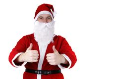 Papai Noel com polegares acima fotografia de stock