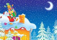 Papai Noel com presentes do Natal vai à chaminé o ilustração do vetor