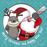Papai Noel com rena ilustração stock