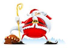 Papai Noel com saco e equipe de funcionários ilustração royalty free