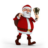 Papai Noel com sino Fotografia de Stock