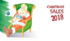 Papai Noel com tabuleta Fotos de Stock Royalty Free