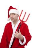 Papai Noel com tridente Imagens de Stock Royalty Free