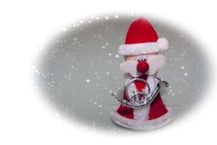 Papai Noel com trombeta de prata Imagem de Stock Royalty Free