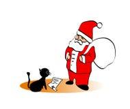 Papai Noel com um gato Imagens de Stock