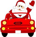 Papai Noel de ondulação no carro Fotos de Stock