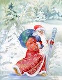 Papai Noel deseja um ano novo feliz e um Natal Fotos de Stock Royalty Free