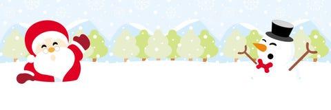 Papai Noel e boneco de neve na neve com Natal do floco de neve fotos de stock
