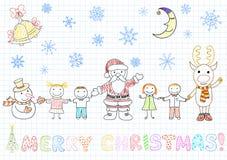 Papai Noel e crianças ilustração stock
