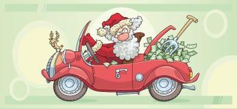 Papai Noel e dinheiro Fotografia de Stock Royalty Free
