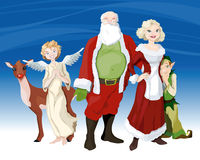 Papai Noel e a família Fotografia de Stock Royalty Free