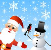 Papai Noel e homem da neve Fotos de Stock