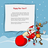 Papai Noel e rena engraçados Fotos de Stock