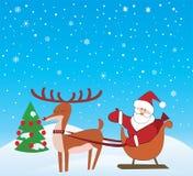 Papai Noel e Rudolf ilustração royalty free