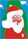 Papai Noel e uma pele-árvore verde Foto de Stock