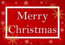 Papai Noel em um sledge Feliz Natal que rotula, fundo vermelho ilustração royalty free
