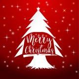 Papai Noel em um sledge Feliz Natal que rotula, ilustração Fotos de Stock Royalty Free