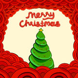 Papai Noel em um sledge Rotulação do Feliz Natal Imagens de Stock