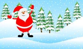 Papai Noel em uma floresta do inverno ilustração do vetor