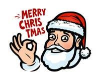 Papai Noel engraçado Cartão do Natal, bandeira Ilustração do vetor dos desenhos animados ilustração stock