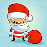 Papai Noel engraçado Papai Noel em um sledge Ilustração do vetor Imagem de Stock Royalty Free