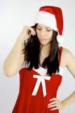 Papai Noel fêmea não sure sobre qualquer coisa Fotos de Stock