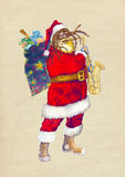 Papai Noel farpado que joga o saxofone Fotos de Stock