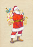 Papai Noel farpado que joga o saxofone Imagens de Stock Royalty Free