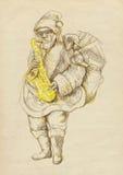 Papai Noel farpado que joga o saxofone Imagens de Stock
