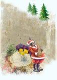 Papai Noel farpado que joga o saxofone Fotos de Stock Royalty Free