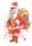 Papai Noel farpado que joga o saxofone ilustração royalty free